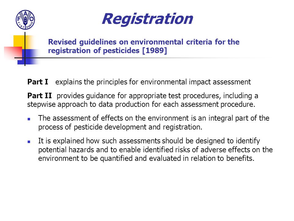 Registration Revised guidelines on environmental criteria for the registration of pesticides [1989]
